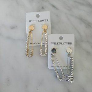 Wildflower Jewelry - Safety Pin Rhinestone Earrings